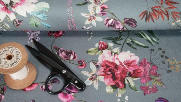 Baumwollstoff Stretch Köper Blumenprint auf grau