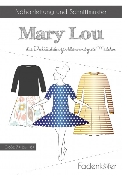 Kleid Mary Lou Kinder,Papierschnitt,Fadenkäfer,Deckblatt mit Skizzen