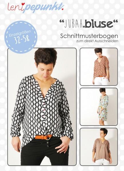 90 JUBAH.bluse,Papierschnitt,Leni Pepunkt,Deckblatt mit Beispielbildern von Frauen in gemusterten Blusen
