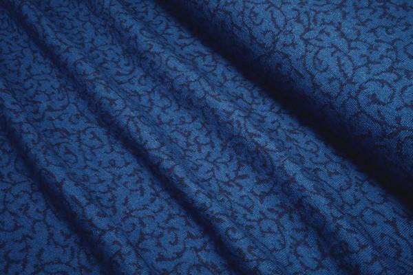 Strickjacquard aus reiner (Merino-) Wolle • Ranke in blau/dunkelblau • Doubleface