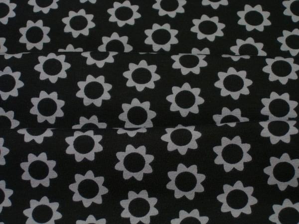 Jersey graue Blütenkreise auf schwarz Baumwoll Jersey