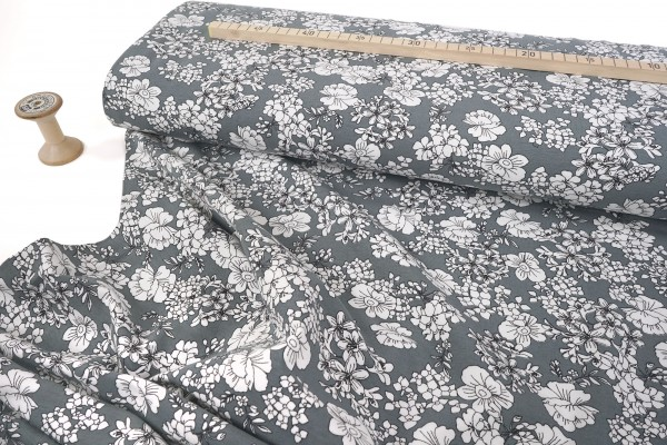 Baumwolljersey • Blütenallover auf grau • Avalana