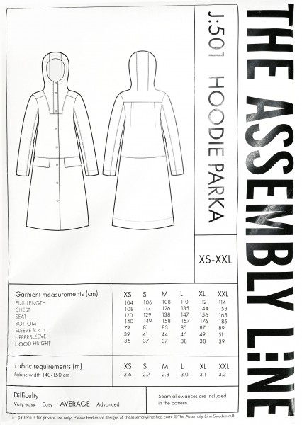 HOODIE PARKA PATTERN,Papierschnitt,The Assembly Line,Deckblatt