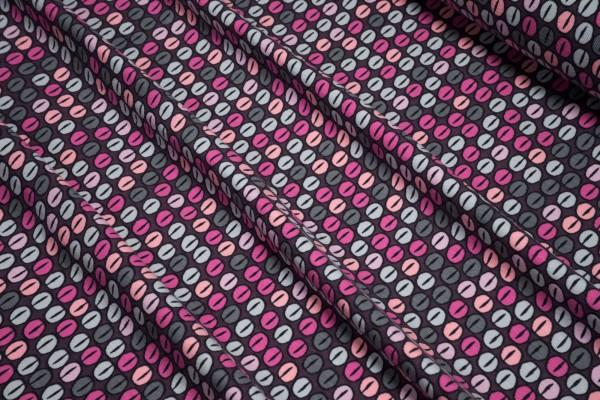 Jersey Bohnen grau pink rosa auf dunkler beere Baumwoll Jersey