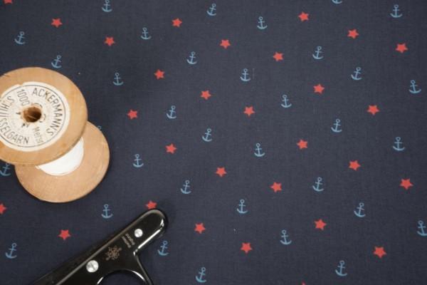 Baumwollstoff Jack Anker Sterne hellblau rot auf dunkelblau