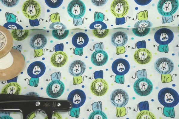 Baumwollstoff Löwen Punkte multi blau grün auf weiß