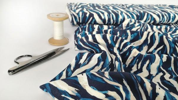 Viskose Druck multi blau weiße Tigerstreifen