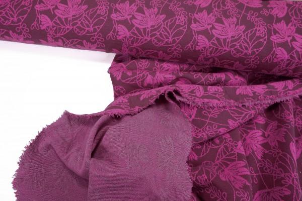 Strick-Jacquard • Blumenornamente • pink auf beere