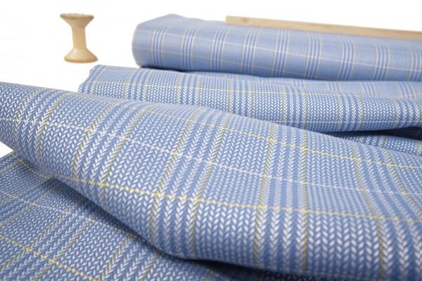 Wollstoff mit Seide • Karo • blau/ecru/senf