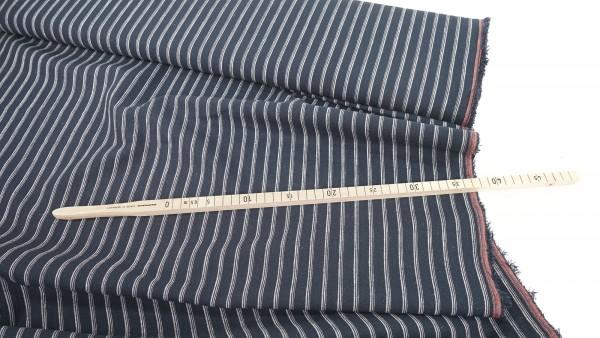 Leinen-Baumwollmischung • gewebter Streifen • marine-ecru