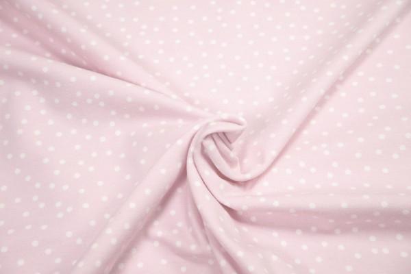 Baumwoll Bio Jersey Dotties weiß auf zart rosa