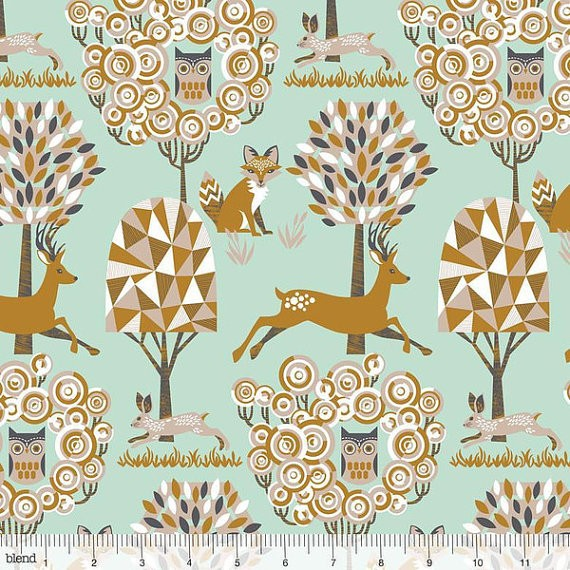 Blend Fabrics Natural Wonder Enchanted Forest Blue Baumwoll Stoff