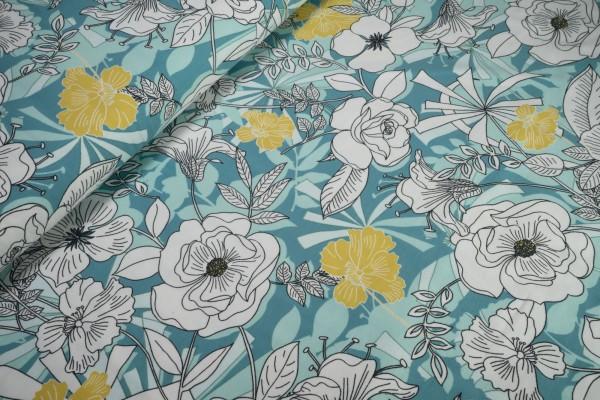 Jersey Blütenrausch weiß stilisiert auf türkis Baumwoll Jersey