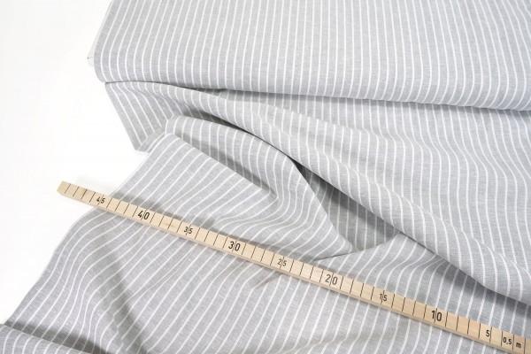 Leinen-Baumwollmischung • Streifen • hellgrau/weiß
