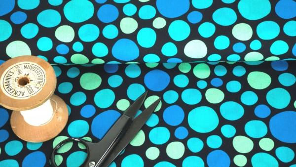 Baumwollstoff Kim Kreise blau türkis grün auf schwarz