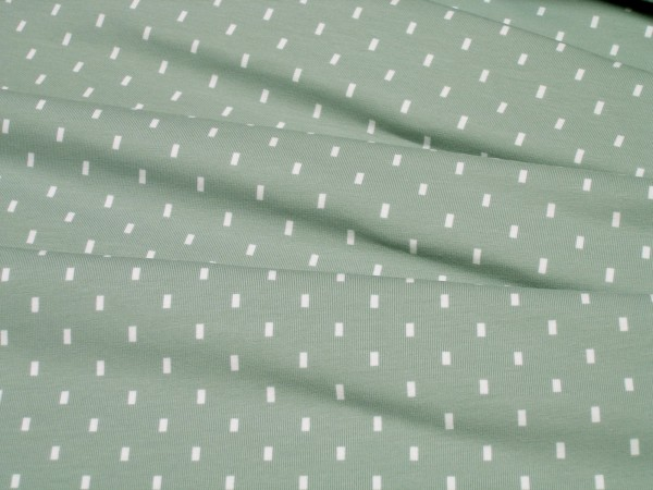 Stoffe Baumwolle Jersey kleine Rechtecke auf dunkel mint