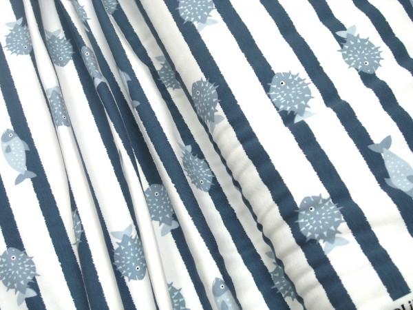 Jersey Little Darling Fische und Streifen blau auf weiß
