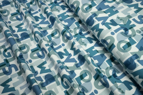 Jersey Buchstaben blau petrol auf weiß Baumwoll Jersey