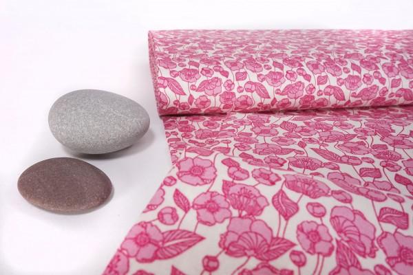 Baumwoll Stoff Klatschmohn pink auf weiß