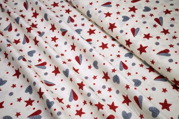 Weihnachts Baumwollstoff Herzchen Sternchen rot grau auf beige