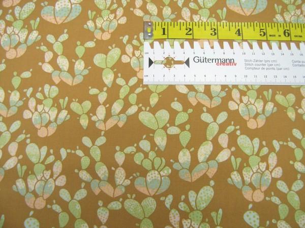 Art Gallery • Succulence • Everlasting Cacti Desert metallic Baumwollstoff