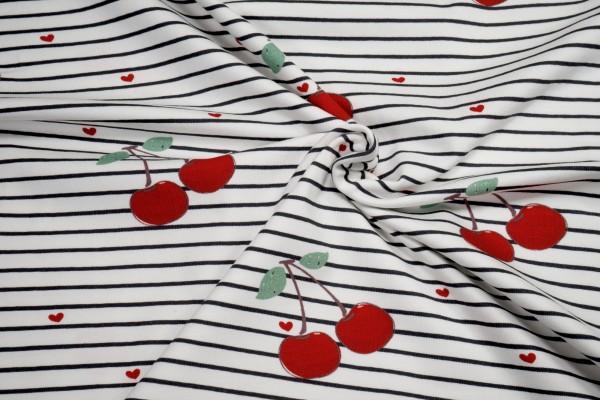 Baumwoll Jersey Kirschen Herzen auf schwarz weiß gestreift by Fräulein von Julie