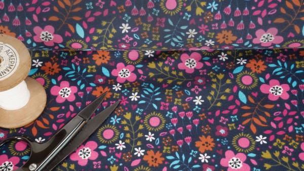 Baumwoll Jersey Blumen Blüten bunt auf dunkelblau