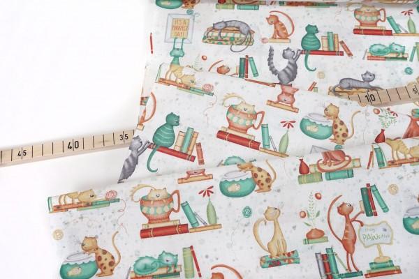 Windham Fabrics • Purrfect Day • Catitude white • by Terri Degenkolb