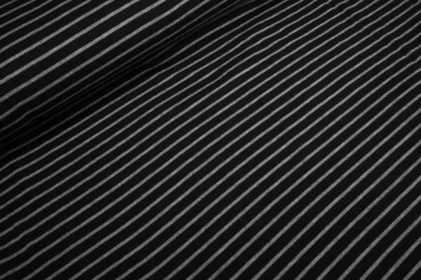 Strickstoff Streifen grau schwarz